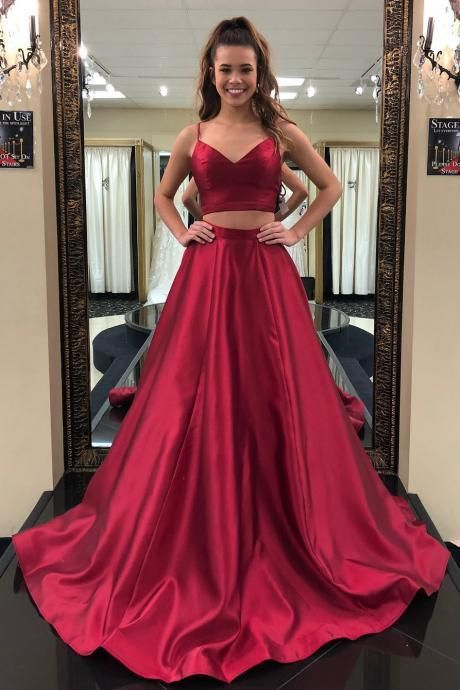 Simple Red Two-Piece Long Prom Dress,Straps V-Neck Evening Dresses