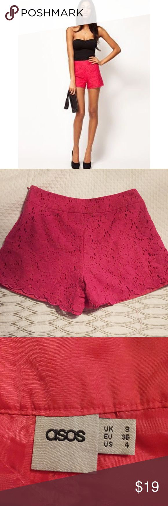 """ASOS lace shorts Eye catching lace shorts with a subtle scalloped hem by ASOS. Worn a handful of times! Hot pink, perfect for summer! Beautiful floral crochet pattern. High waisted.   Fully lined Side zip and closure Size 4 but runs small 26"""" waist 2.5"""" inseam ASOS Shorts"""