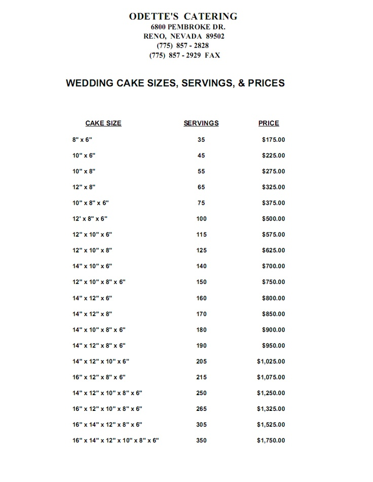 wedding cake sizes chart 112 best images about bakery pricing on cake 24812