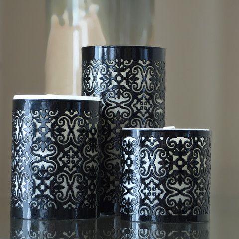 Lattice Vanilla Candle & Holder set of 3