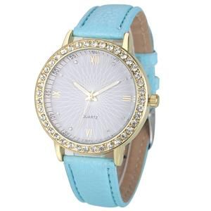 Rhinestone Genvivia Watch With 8 Color Choices of Leather Band. Very pretty watch face. Have a look at the other colors.