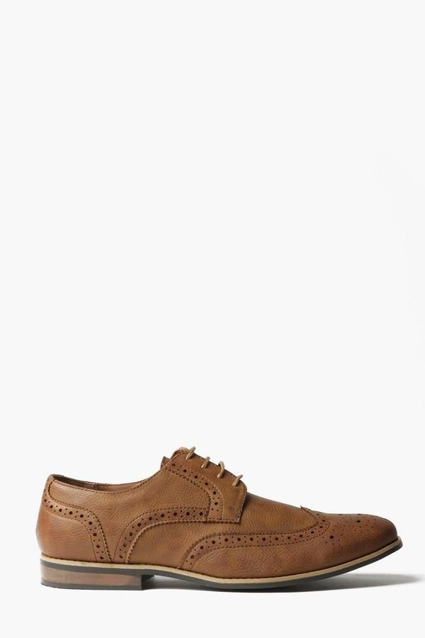 boohoo Tan Brogues with Perforated Detailing