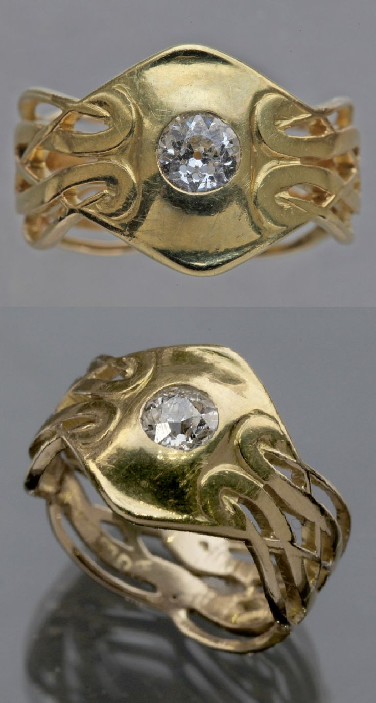 A Superb Art Nouveau gold and diamond ring, by Archibald Knox for Liberty &…