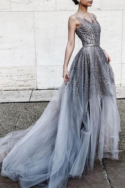 Gray tulle sequins round neck see-through long prom dress,train dresses
