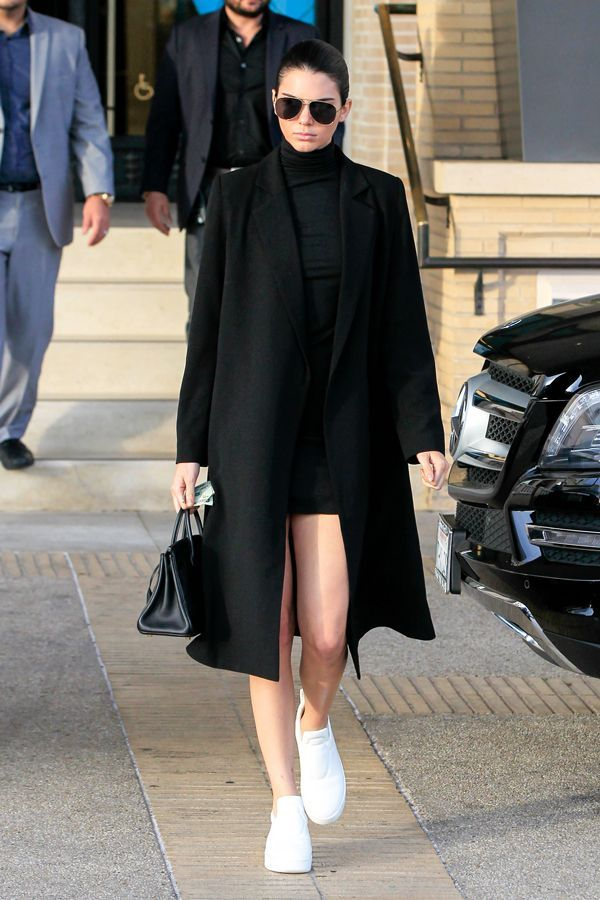 How To Take Your Street Style To The Next Level À La Kendall Jenner #refinery29  http://www.refinery29.com/2016/01/101361/kendall-jenner-style#slide-29  All black — well, almost all black — is always a good answer....