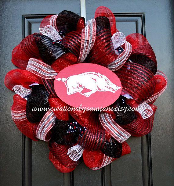Arkansas Razorback Wreath - Mesh Arkansas Wreath on Etsy, $80.00