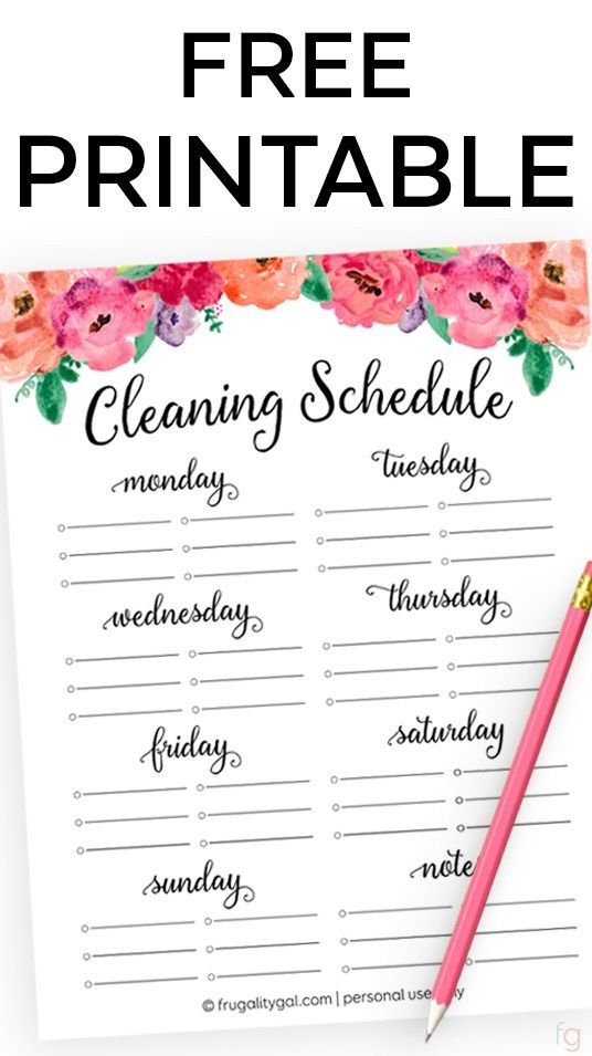 Free Printable Cleaning Schedule