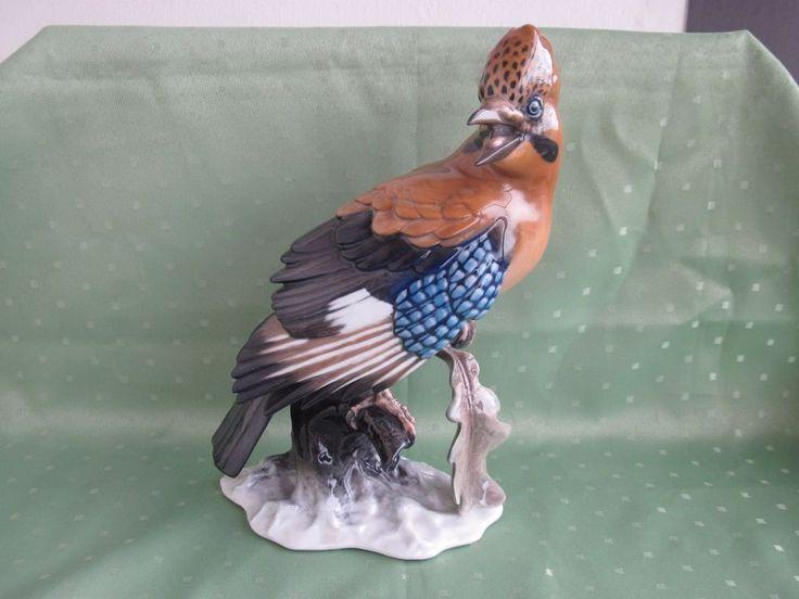 Schöne große Rosenthal Figur als Vogel auf Baumstamm, EICHELHÄHER