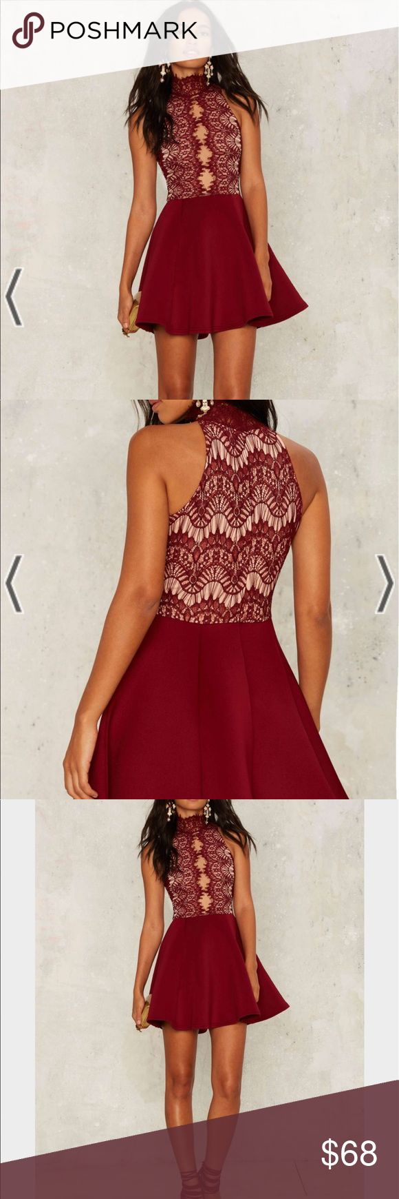 Rare London Hold Court Lace Dress Command attention. The Hold Court Dress is burgundy and features a scuba skirt, lace bodice, mock neck, enclosed zipper at back, and partial nude lining. By Rare London. Nasty Gal Dresses