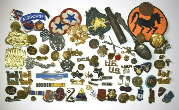 Estate fresh lot 2 antique military army pins badges wwii