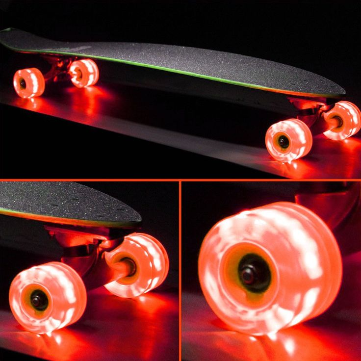 Sunset Skateboards Orange 65mm x 45mm Flare LED Longboard Skateboard Wheel Set