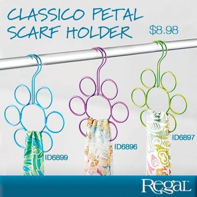 """CLASSICO PETAL SCARF HOLDER  Bright and fun flower shape holder will organize up to 7 of your scarves, ties and other accessories. Space saving scarf holder has a steel construction with a snag free design and fits easily on your closet rod. 9""""L x 6-1/2""""Diam."""