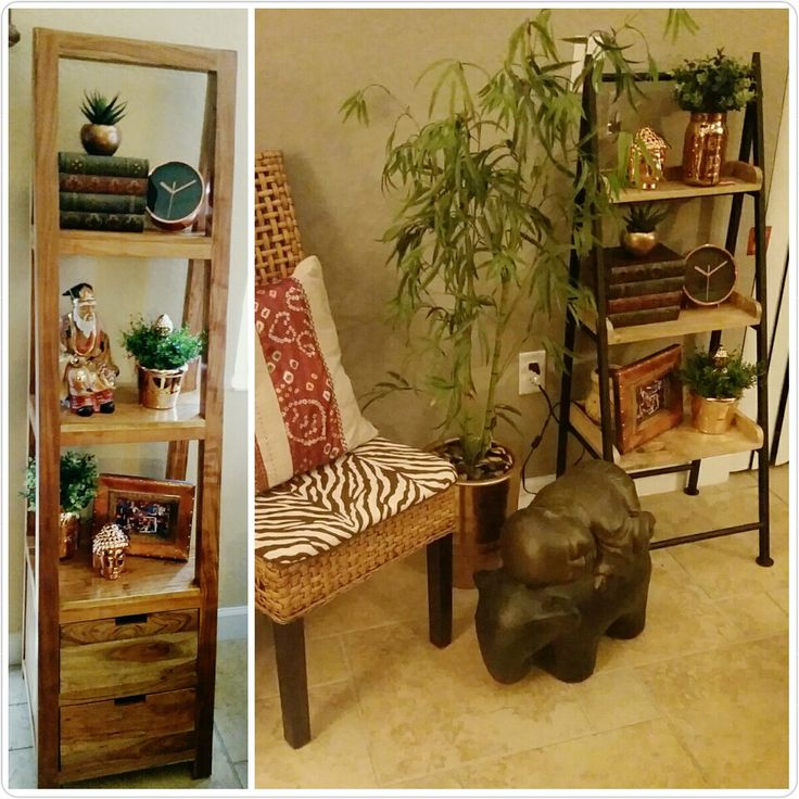 Ladder shelf decor : tall or short natural mango wood and black iron. Looks super cute with books (book shelves), rose gold decor or metallic decor, plants cactus, and even buddhas. Farm house, steam punk, dessert shabby chic, rustic, Indonesian, bojo, eclectic...etc