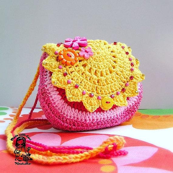 Handmade crochet purse  Summertime coll  Sunny door VendulkaM, $30.00