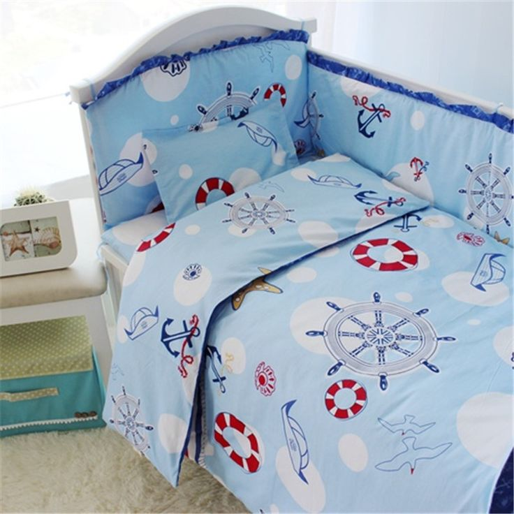 (32.80$)  Watch here - http://ai0mf.worlditems.win/all/product.php?id=32783203080 - Top Quality Blue Color Baby Crib Bedding Set Include Sheets and Quilt, Kids Newborn Baby Bed Sets Crib Bumper Infant Cot Set