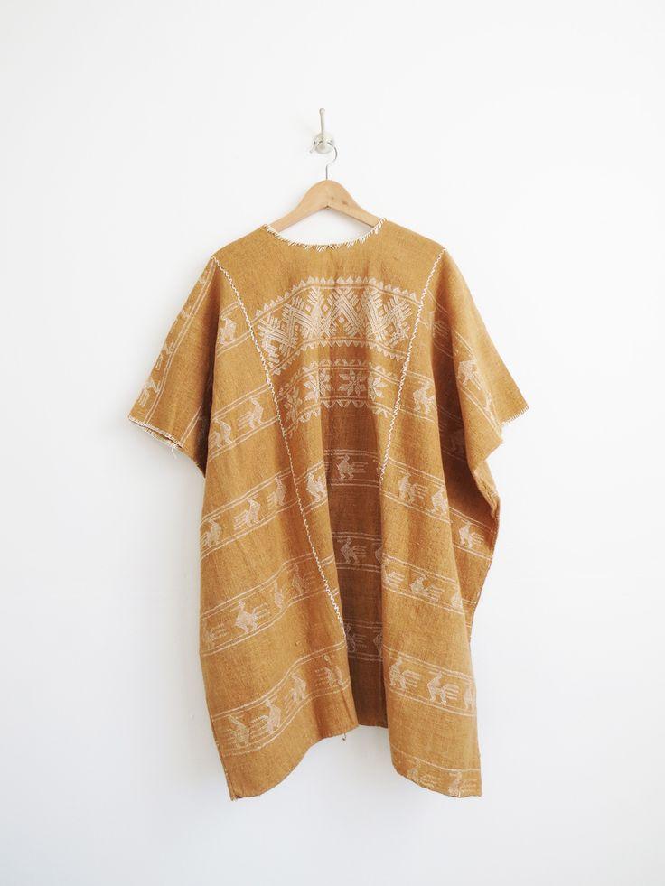Terra Cotta Kaftan // Vintage Cotton Mexican Kaftan Dress