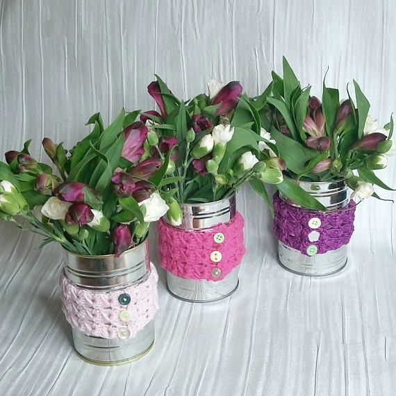 Check out this item in my Etsy shop https://www.etsy.com/uk/listing/536543531/crochet-vase-cover-upcycle-jars-tins-set