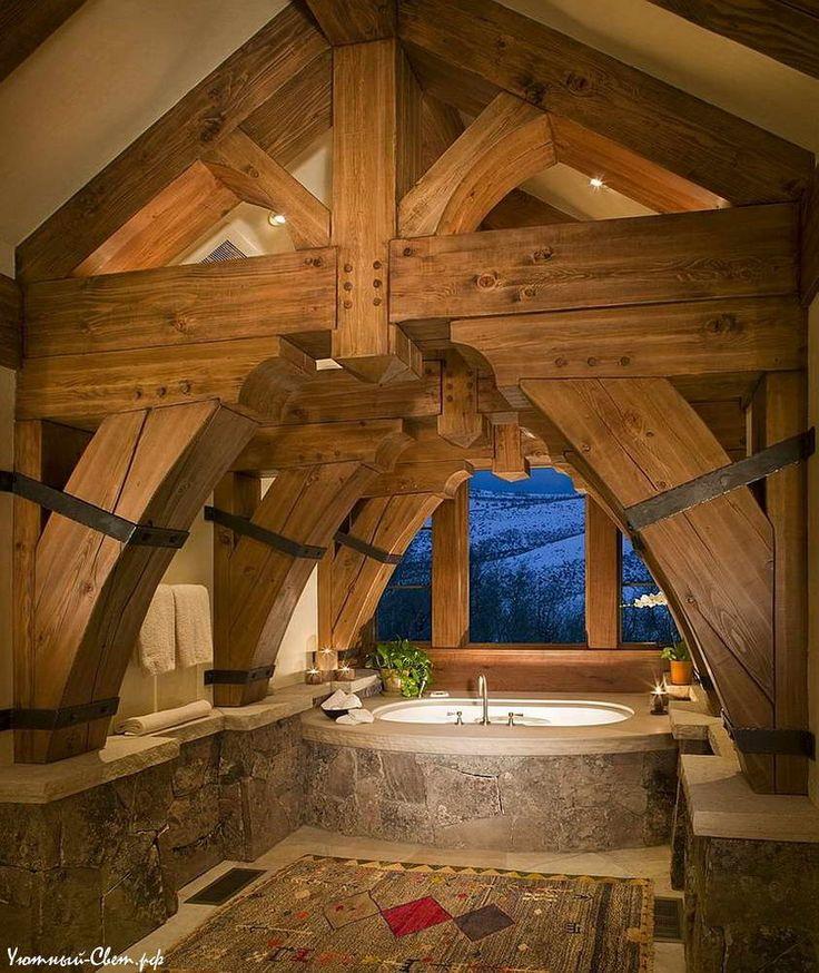 50 очаровательных идей для ванной в деревенском стиле