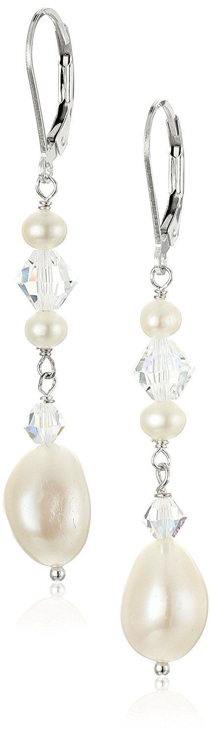 Sterling Silver Baroque Freshwater Cultured Pearls and Crystal AB Swarovski Element Drop Earrings -- For more information, visit image link.