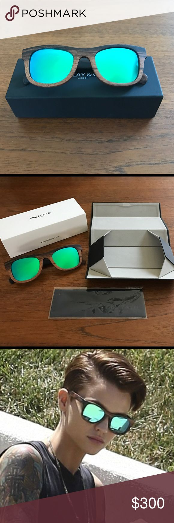 New Finlay & Co. Ledbury Sunglasses, Green NIB Finlay & Co. Ledbury Sunglasses. Perfect condition, never worn. Authentic, handmade in Italy, limited edition & sold out. As seen on Ruby Rose & Jenson Button. Wood frames, green mirror lenses, 100% UV protection, unisex. comes with box, sleeve and cleaning cloth. Finlay & Co.  Accessories Sunglasses
