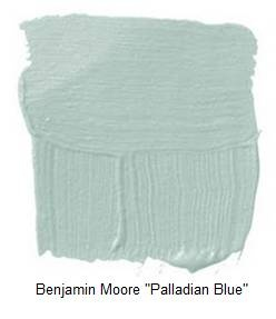 """Benjamin Moore """"Palladian Blue"""". This is the colour I want to tie in with the mahogany built ins. Possibly try shades like half strength dulux carnelian as a close match."""