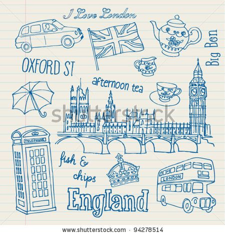 stock vector : London icons doodles drawing vector