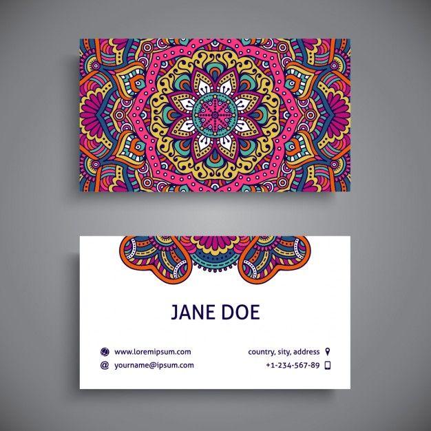 Tarjeta de visita decorada con mandalas a todo color Vector Gratis