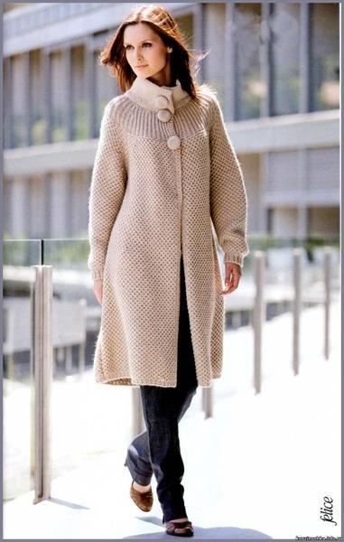 Вязание спицами пальто фото