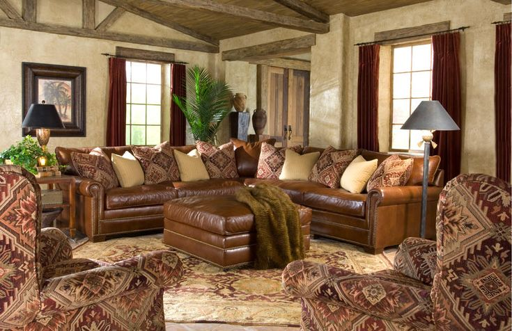 Comfy Leather Sectional From Huntington House 7107