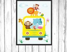 Tablou pentru copii - animale in masina