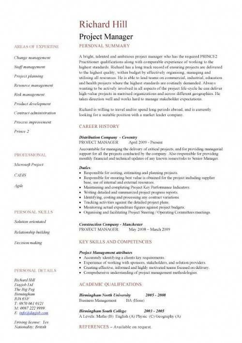 Single Page Resume Template Project Manager CV Example - CV template