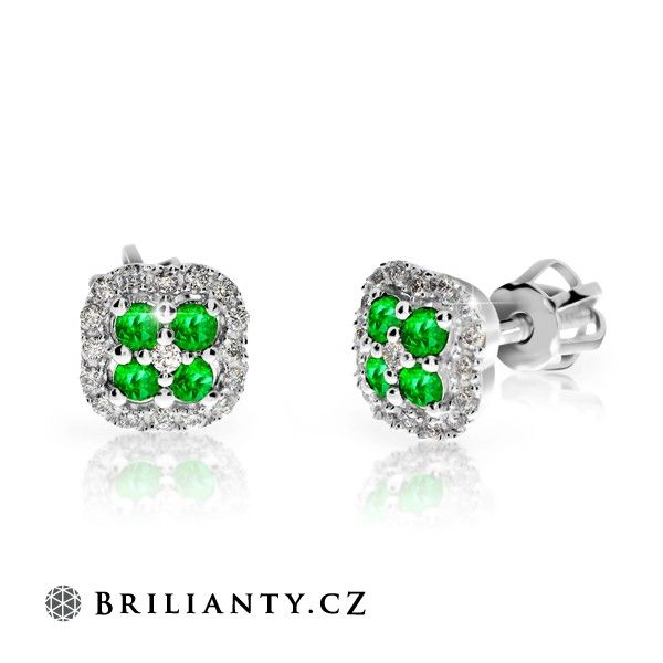 Earring with Emeralds and Diamonds 0.42 ct