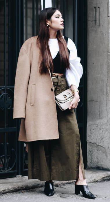 Chic Outfit from daphale with Acne Studios Coats, MSGM Tops, JW Anderson Shoulder Bags, A.W.A.K.E. Pants, MANGO Heels