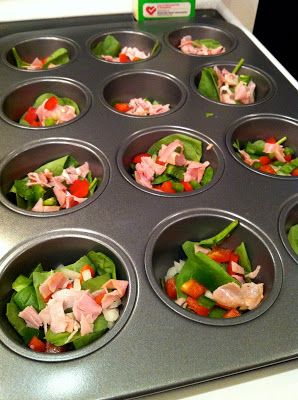 Eggs in a muffin tin (Quick to make and put in fridge for the week, heat up in m…