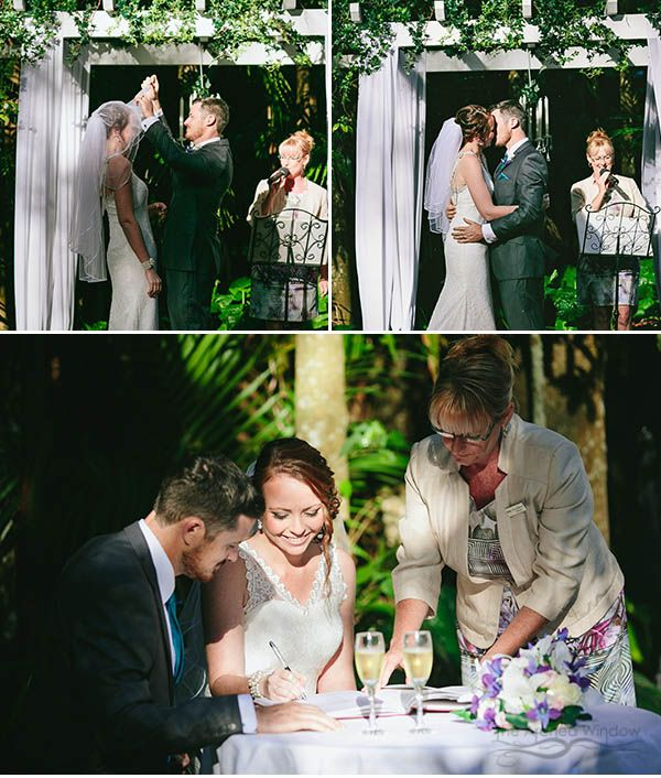 wedding ceremony venue Pethers Rainforest Retreat in Mt Tamborine. Photography by The Arched Window.