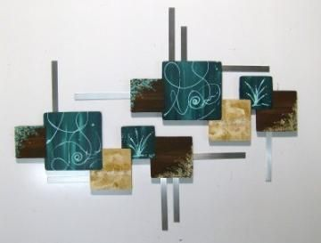 beautiful contemporary abstract square wall sculpture dark greenish teal aqua brown wood art. Black Bedroom Furniture Sets. Home Design Ideas
