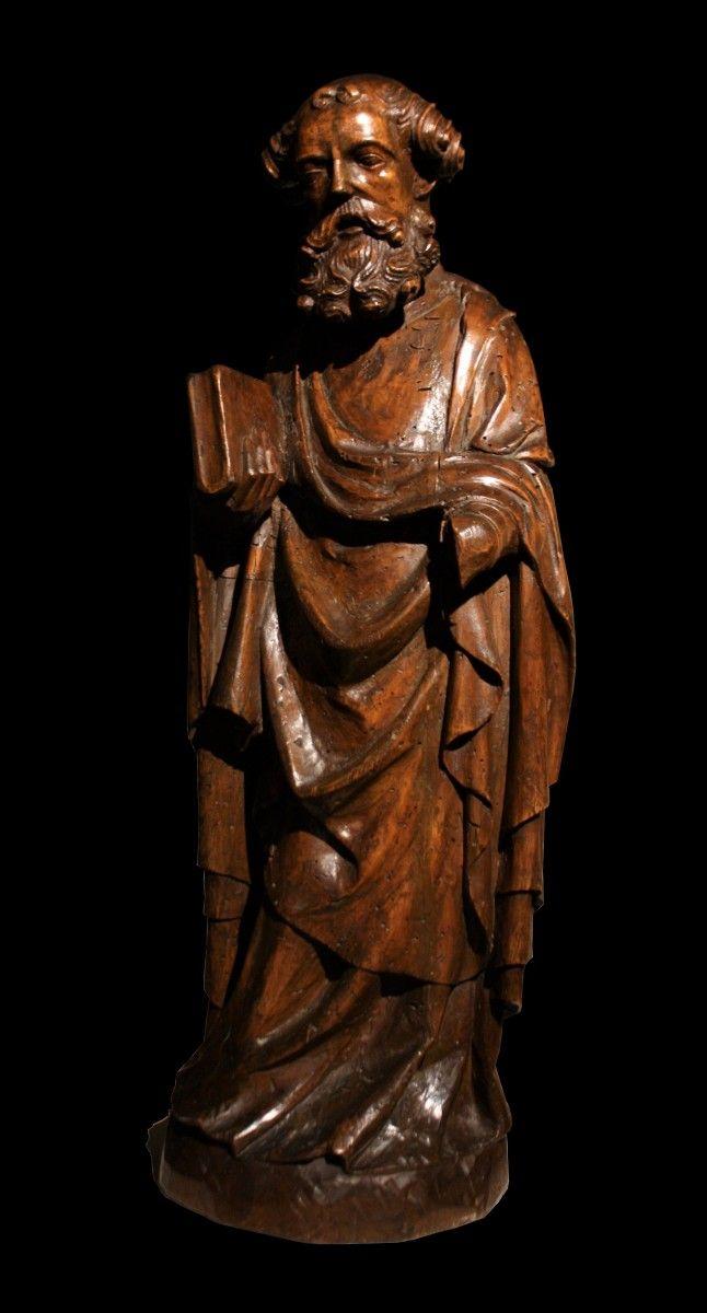 2 St Pierre En Tilleul Sculpte Allemagne Xive Siecle N 69022 Les Meches De Ses Cheveux Sont Enroulees Sur Elles Memes La Main A St Pierre Statue Tilleul