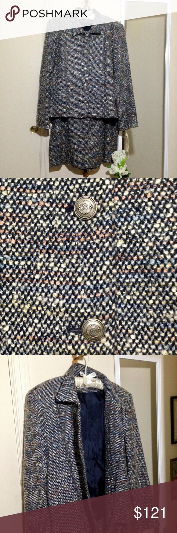 "NEW Tweed Wool Blend Two Piece Skirt Suit 2 piece suit. Blend of dark navy blue, light blue, yellow, cream, light red. Dark navy lining. Wool blend w/ other materials (see pics 4 & 8).   Blazer: SIZE 18. Silver tone metal buttons. Some padding in shoulders. Approx. measurements: bust 22.5""; body length 24""; sleeve length 25.25"".  Pencil skirt: SIZE 16. Partial zip down back. Back slit (pic 7). Approx, measurements: waist: 16.75""; length 23.5"".   Both perfect condition. Brand new with tags…"