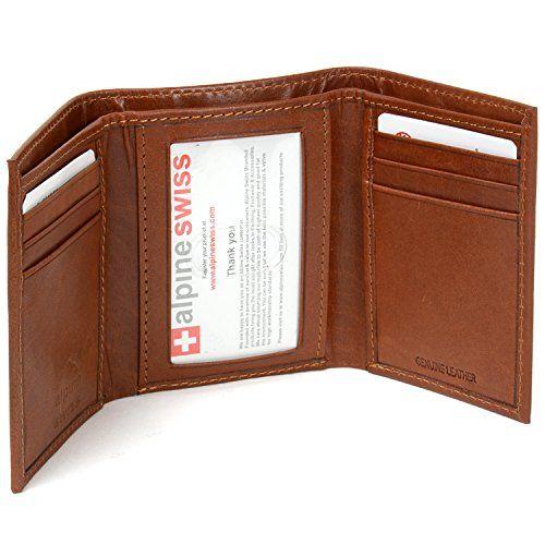 cd6dd1912671 Alpine Swiss Men's Genuine Leather Trifold Wallet | Men's ...