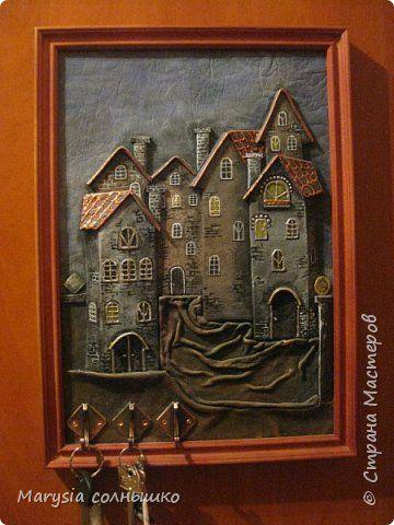 Картина панно рисунок Моделирование конструирование Ключница Старый город  Кожа фото 1