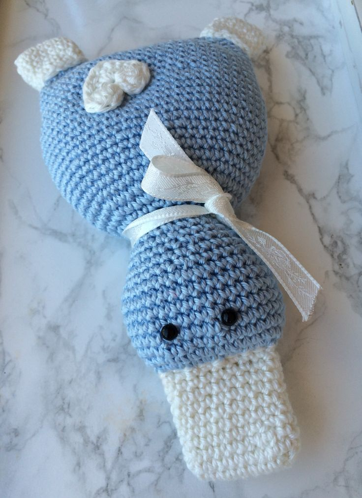 Knuffel - eendje met rammelaar - Made by Marygold