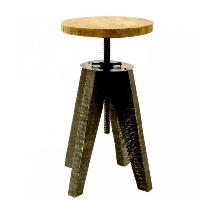 Origineel piano krukje met een robuust onderstel dat is gemaakt van zwart gekleurd hout en een zitting van natuurlijk hout.   www.homeseeds.nl   #pianokruk #krukje #industrieel
