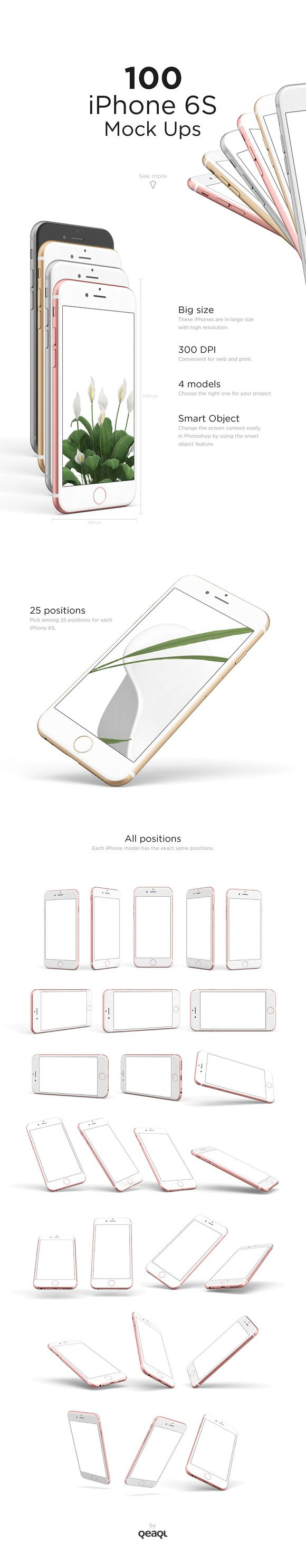 100 iPhone 6S Mock Ups by Qeaql on @creativemarket