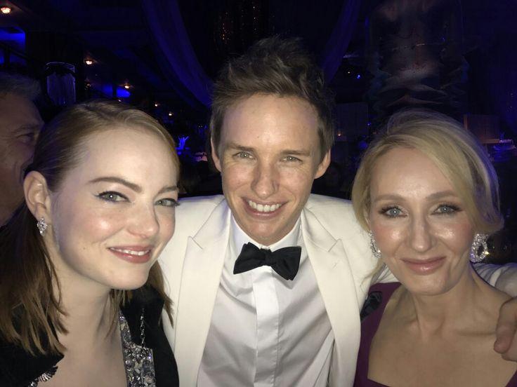 Emma Stone, Ed Redmayne e JK Rowling