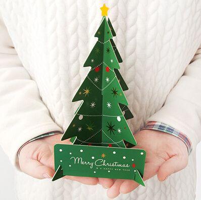 Merry Christmas 3D Tree Greeting Card Postcard Birthday Message Card Set…
