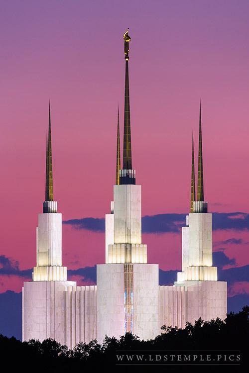 Washington DC Temple Side Pastel Sunset | LDS Temple Art                                                                                                                                                     More