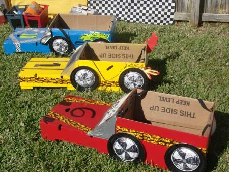 Cardboard Cars for a Cars Themed Party