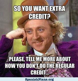 Extra Credit Regular Credit Willy Wonka Meme