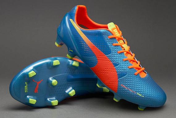 Puma Football Boots - Puma evoSPEED 1.2 SL FG - Firm Ground - Soccer Cleats - Sharks Blue-Fluro Peach
