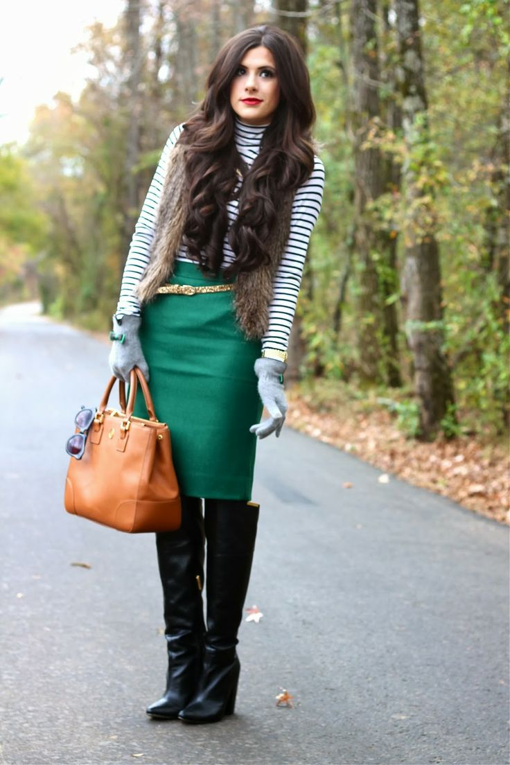 striped top, green pencil skirt, gold glitter belt, otk ...